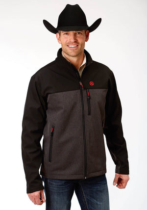 Mens Roper Grey Textured and Solid Black Bonded Softshell Jacket