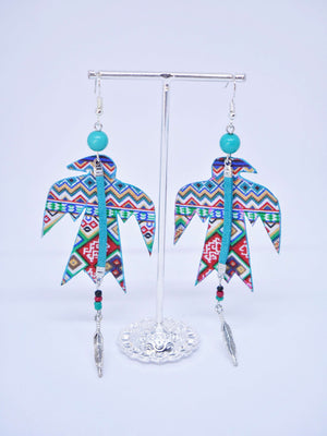 Cactus Lace Leather - Aztec Thunderbird Earring 2 Teal