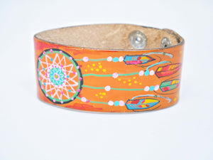 Cactus Lace Leather - Wide Wristband - Dream