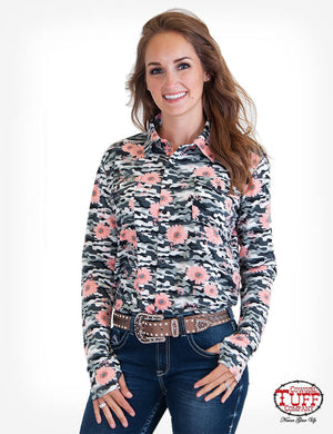 Women's Cowgirl Tuff Grey Camo Floral Jersey Pullover Shirt