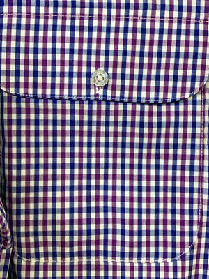 Men's Bisley S/S Purple & White Check Shirt