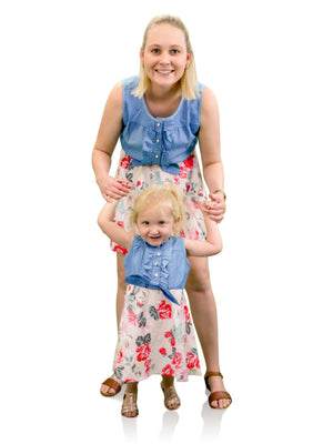 Women's Blue Sleeveless Floral Dress - Matching Mummy and Me