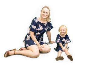 Kid's Navy Floral Off The Shoulder Dress - Matching Mummy and Me