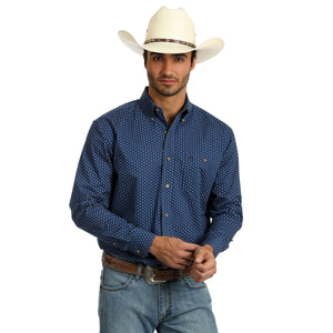 Wrangler Men's Navy Printed Long Sleeve Shirt