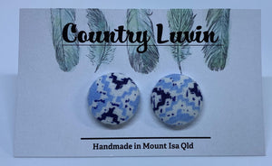 Country Luvin' - 19mm Fabric Button Earring – Blue Aztec