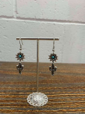 Vintage Flower and Cactus Silver Drop Earrings