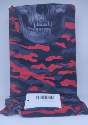 Face Shield - Fire Red Military Blackout Camo Skull