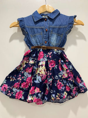 Girl's Casual Floral & Denim Dress