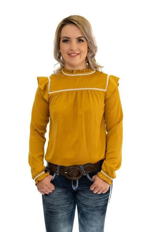 Hitchley & Harrow - Mustard & White Lace Cut Out Top