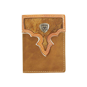 Ariat Bifold Brown /Tan Cowhide Wallet WLT3108A
