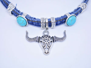 Cactus Lace Leather - Denim Choker - Bull Head