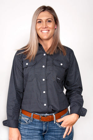 Women's Just Country Abbey Full Button Patterned Shirt Black