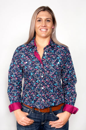 Women's Just Country Abbey Full Button Patterned Shirt Navy and Pink