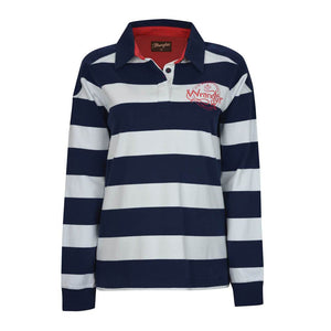 Women's Wrangler Poppy Striped Rugby Shirt Navy and Red