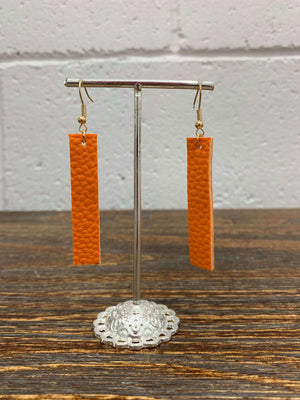 Women's Vertical Bar Faux Leather Earrings