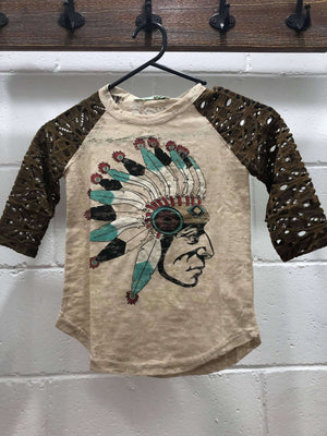 Girls Native American Burnout Shirt with Brown Lace Sleeves