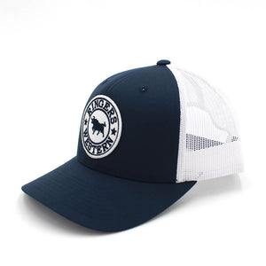Ringers Western - Navy & White Signature Bull Trucker Hat with Navy & Pink Patch 171120006-NVWH