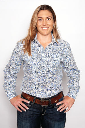 Women's Just Country Georgie 1/2 Button White & Blue Shirt. WWLS1901