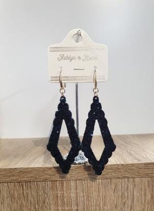 Navy Glitter Sparkling Chandelier Earrings