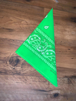 Hi-Vis Lime Green Paisley Design Bandana - 100% Cotton