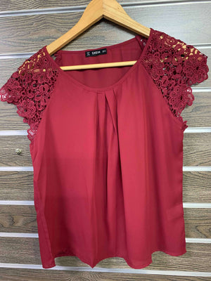 Burgundy Lace Sleeve Pleated Front Shirt