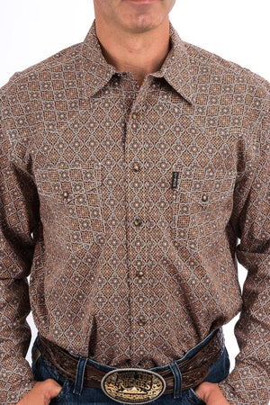 Men's Cinch Modern Fit Brown and Orange Geometric Medallion Print Shirt