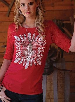 Women's Cruel Girl Foy Red Lace Sleeve Tee Shirt