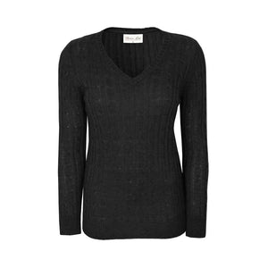 Women's Thomas Cook  Cable Knit V-Neck Jumper Black