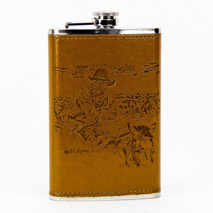 Brigalow Leather Bound Flask - Old School