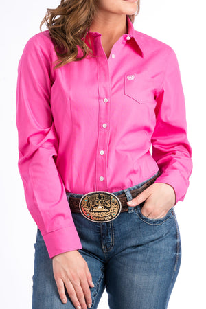 Women's Cinch Pink Solid Shirt MSW9164033