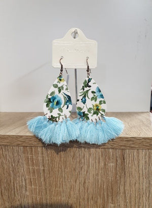 Light Blue First Day of Spring Floral Earrings