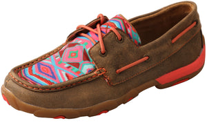 Women's Twisted X Coral Aztec Casual Driving Moc Low Lace Up