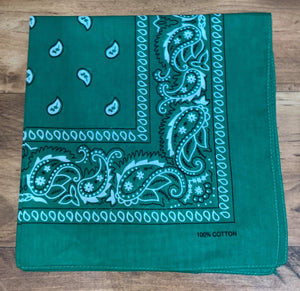 Green Paisley Design Bandana - 100% Cotton