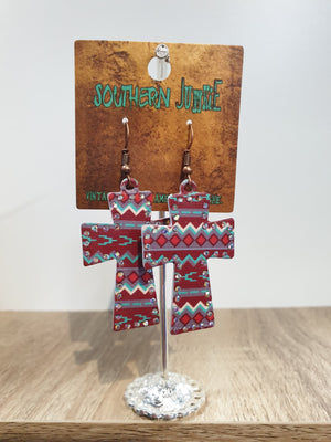 Crystal and Red Aztec Print Cross Earrings