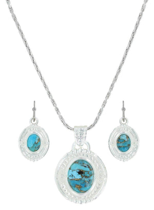 Women's Montana Glacier Pools of Turquoise Necklace and Earring Jewellery Set