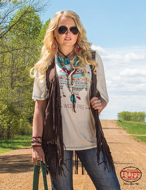 Women's Cowgirl Tuff  Chocolate Suede Fringe Vest