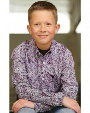 Boy's Cinch Aston Print Shirt - Diamond K Country