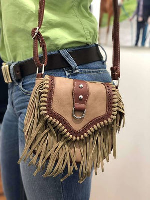 Tassel Shoulder Strap Bag - Brown