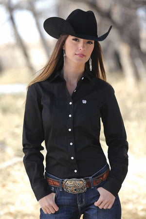 Women's Cinch Black Solid Shirt