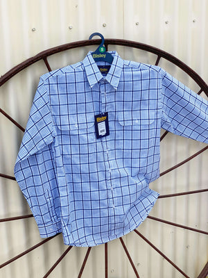 Men's Bisley Blue & Black Check Shirt BS7859