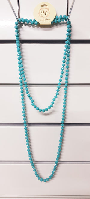 Vintage Blue Double Wrap Beaded Necklace