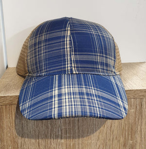 Southern Junkie Blue Plaid and Tan Mesh Cap