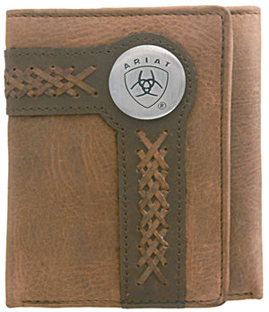 Ariat Trifold Brown Stitch Wallet - Diamond K Country
