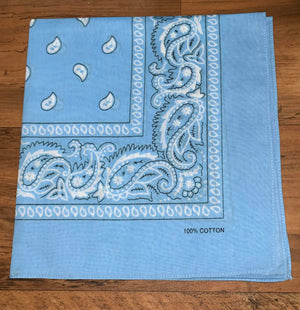 Light Blue Paisley Design Bandana - 100% Cotton