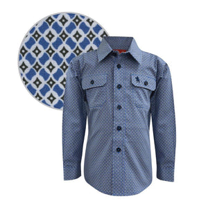 Boy's Thomas Cook Hillier Blue and Black Shirt - Diamond K Country