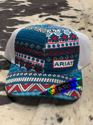 Ariat Logo Blue, Red and White Mesh Snap Closure Cap
