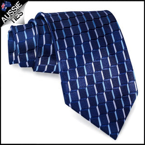 Men's Navy Blue 3D Cubes Necktie