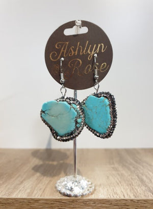 Turquoise Stone and Crystal Drop Earrings