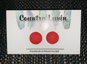 Country Luvin' 15mm - Red Fabric Earring