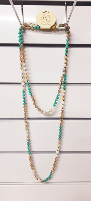 Turquoise and Sand Long Beaded Necklace